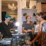 Marianne, Charlotte and Henrik by the mixing table